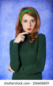 American redhead girl. Photo in 60s style.