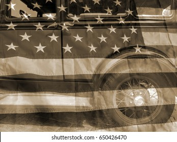 American retro automobile industry vintage styled background