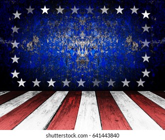 American retro background with stars. Scratched texture