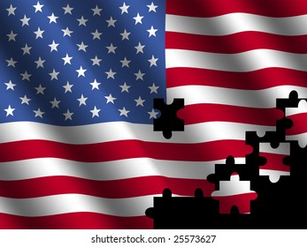American rippled flag with jigsaw effect illustration
