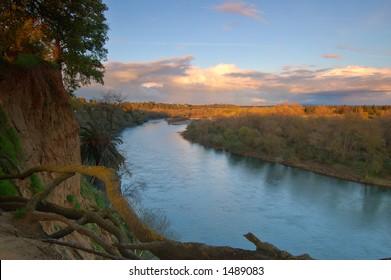American river near Sacramento in the evening