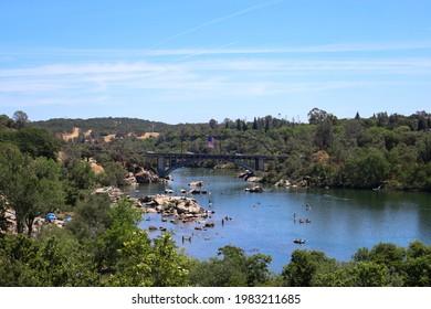 American River Rainbow Bridge Folsom California