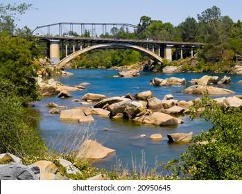 American River and Rainbow Bridge in Folsom