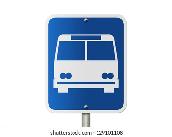 An American road sign isolated on white and icon of public bus, Bus Stop Sign