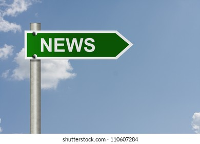An American road sign with sky background and copy space for your message, Getting the news