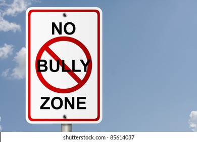 An American road sign with sky background and copy space for your message, No Bully Zone