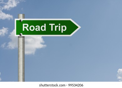 An American road sign with sky background and copy space for your message, Taking a road trip