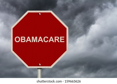 An American road sign and word Obamacare over stormy sky, Stopping Obamacare