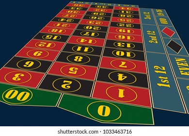 American Roulette Table perspective raster illustration