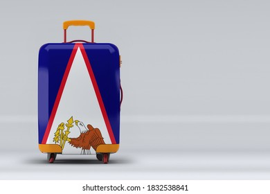 American Samoa national flag on a stylish suitcases on color background. Space for text. International travel and tourism concept. 3D rendering.