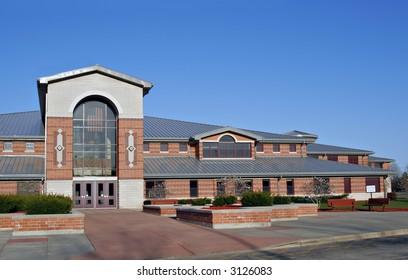 American School Building under blue sky