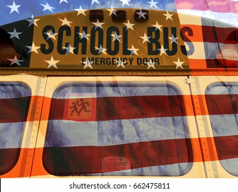 American school bus and flag background