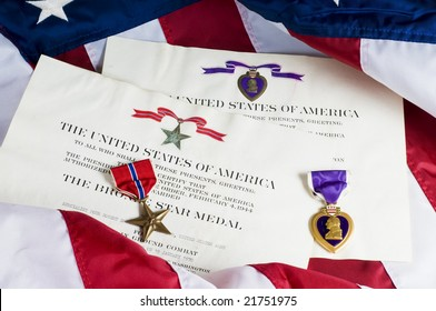 American service awards given for combat valor and wounds.
