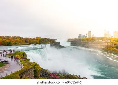 American side of Niagara Falls during sunrise