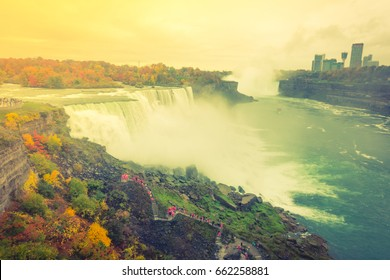 American side of Niagara Falls during sunrise  ( Filtered image processed vintage effect. )