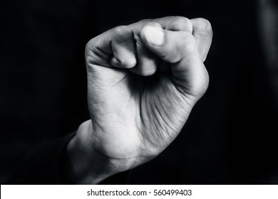 """American Sign Language (ASL) A One-handed alphabet """"S"""" used by Deaf - Mute."""