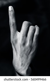 "American Sign Language (ASL) A One-handed alphabet ""S"" used by Deaf - Mute."
