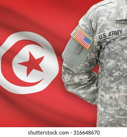 American soldier with flag on background series - Tunisia