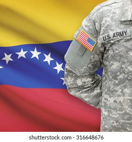 American soldier with flag on background series - Venezuela