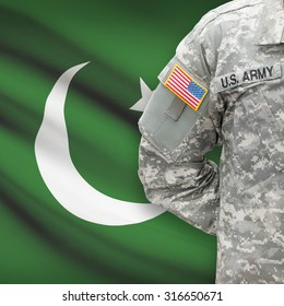 American soldier with flag on background series - Pakistan