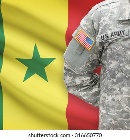 American soldier with flag on background series - Senegal
