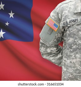 American soldier with flag on background series - Samoa