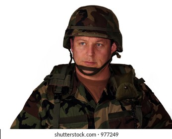American soldier with helmet and gear isolated on white