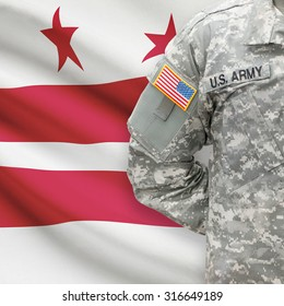 American soldier with US state flag on background series - Washington, D.C. - District of Columbia