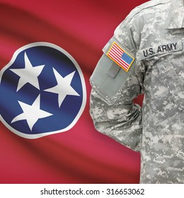 American soldier with US state flag on background series - Tennessee