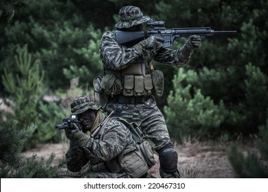 American soldiers defending their position