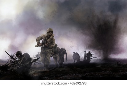 American soldiers on battlefield. WW2 illustration of american soldiers platoon attacking on a battlefield with explosions and mist background.