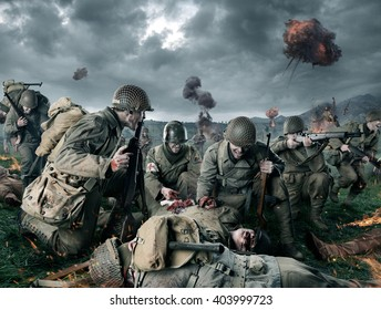 American soldiers on Field of Second World War Battle. Explosion on a background