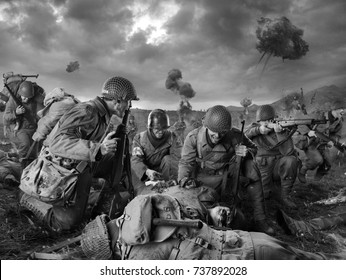 American soldiers on Field of Second World War Battle. Explosion on a background (black and white)