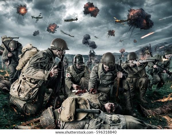 Foto Stock 596318840 A Tema Soldati Americani Sul Campo
