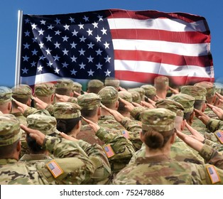 American Soldiers Saluting US Flag, patriotic concept