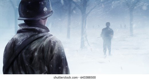 American soldiers in winter forest. WW2 american soldier standing in winter forest and looking at black silhouettes walking forwards in a mist.