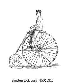 The American Star safety highwheeler bicycle from 1880. Engraving from Harper's Monthly magazine, july 1881.