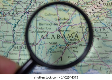 American state Alabama on the map of the world or atlas.