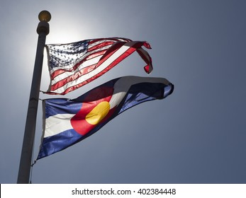 American and State of Colorado flags