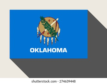 American State of Oklahoma flag in flat web design style.