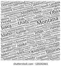 American states pattern in various size words.