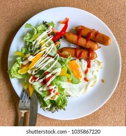 american style breakfast on dish