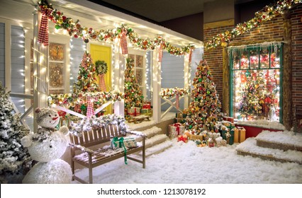 American style Christmas studio house with fake snow, a bench, a snowman Christmas trees and a lot of details