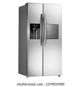 白い背景に米国風の冷蔵庫。ステンレス鋼製の両開きドア冷蔵庫の側面図。フルフロストフリーザー。現代の台所用品と家庭用品