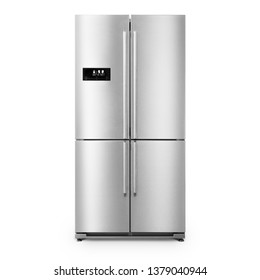 American Style Fridge Freezer Isolated on White. Full Frost Free Freezer. Front View of Stainless Steel Double Door Refrigerator. Modern Kitchen and Domestic Major Appliances