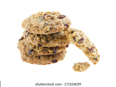 American style oatmeal rising cookies isolated on white background.