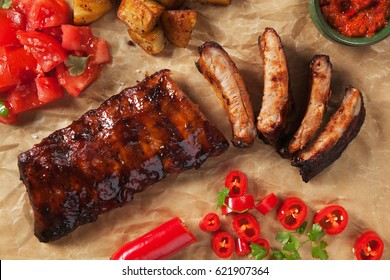 American style pork ribs marinated in barbecue sauce and glazed with honey