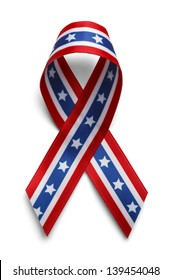 American Support Ribbon, Confederate Support Ribbon Isolated on White Background.