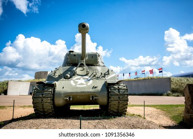 American tank on Utah Beach, Normandy invasion landing memorial. France.
