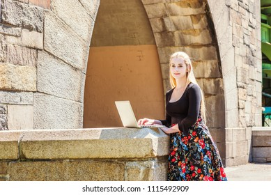American teenage college student studying in New York, wearing black long sleeve t shirt, patterned skit, standing by rock gate on campus under sun, working on laptop computer, looking away, thinking.